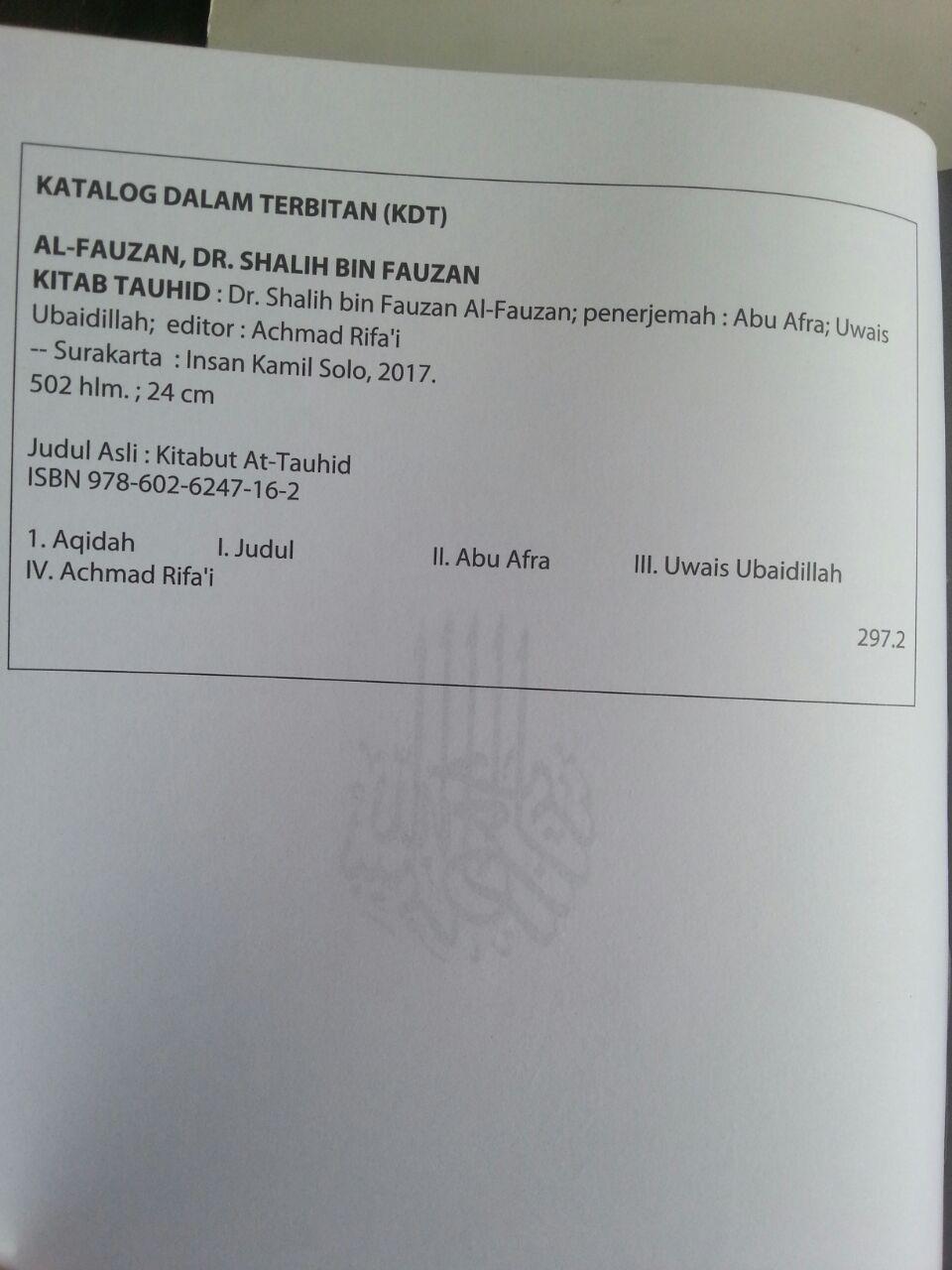 Buku Kitab Tauhid Syaikh Fauzan isi