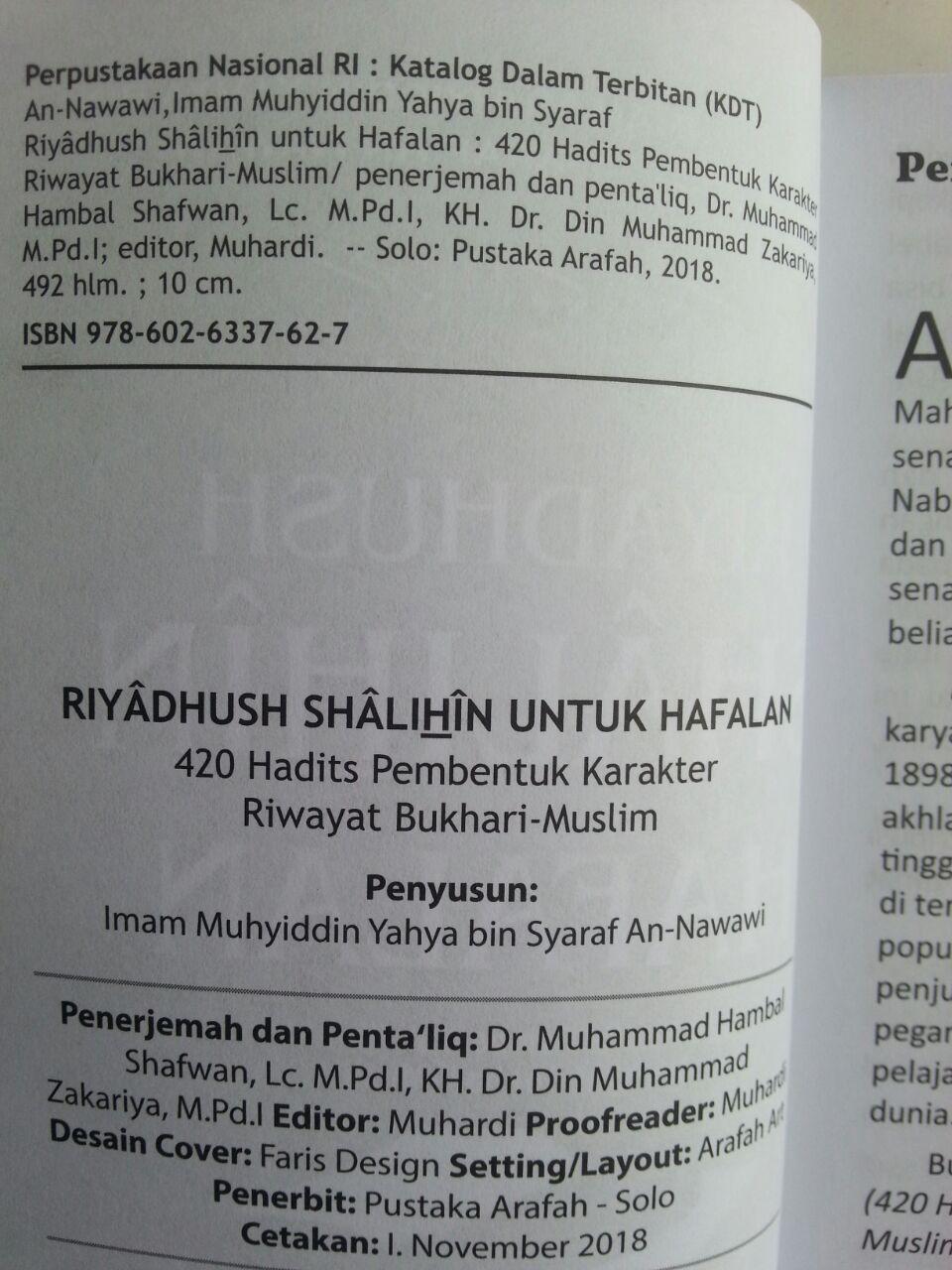 Buku Riyadhus Shalihin Untuk Hafalan 420 Hadits Pembentuk Karakter isi
