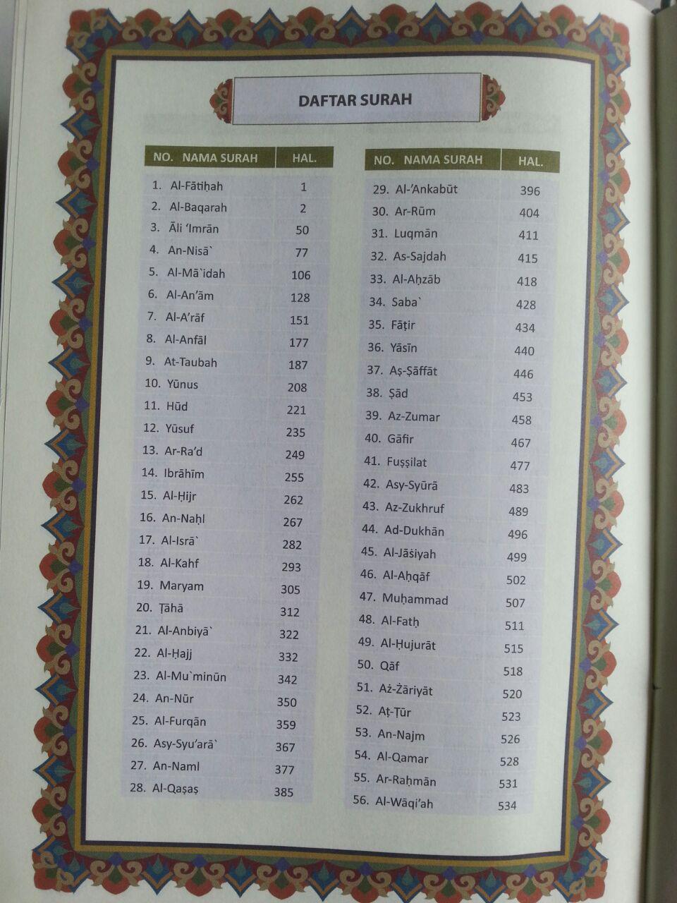 Al-Qur'an Mushaf Utsmani Tajwid Al-Amzar Ukuran A5 isi