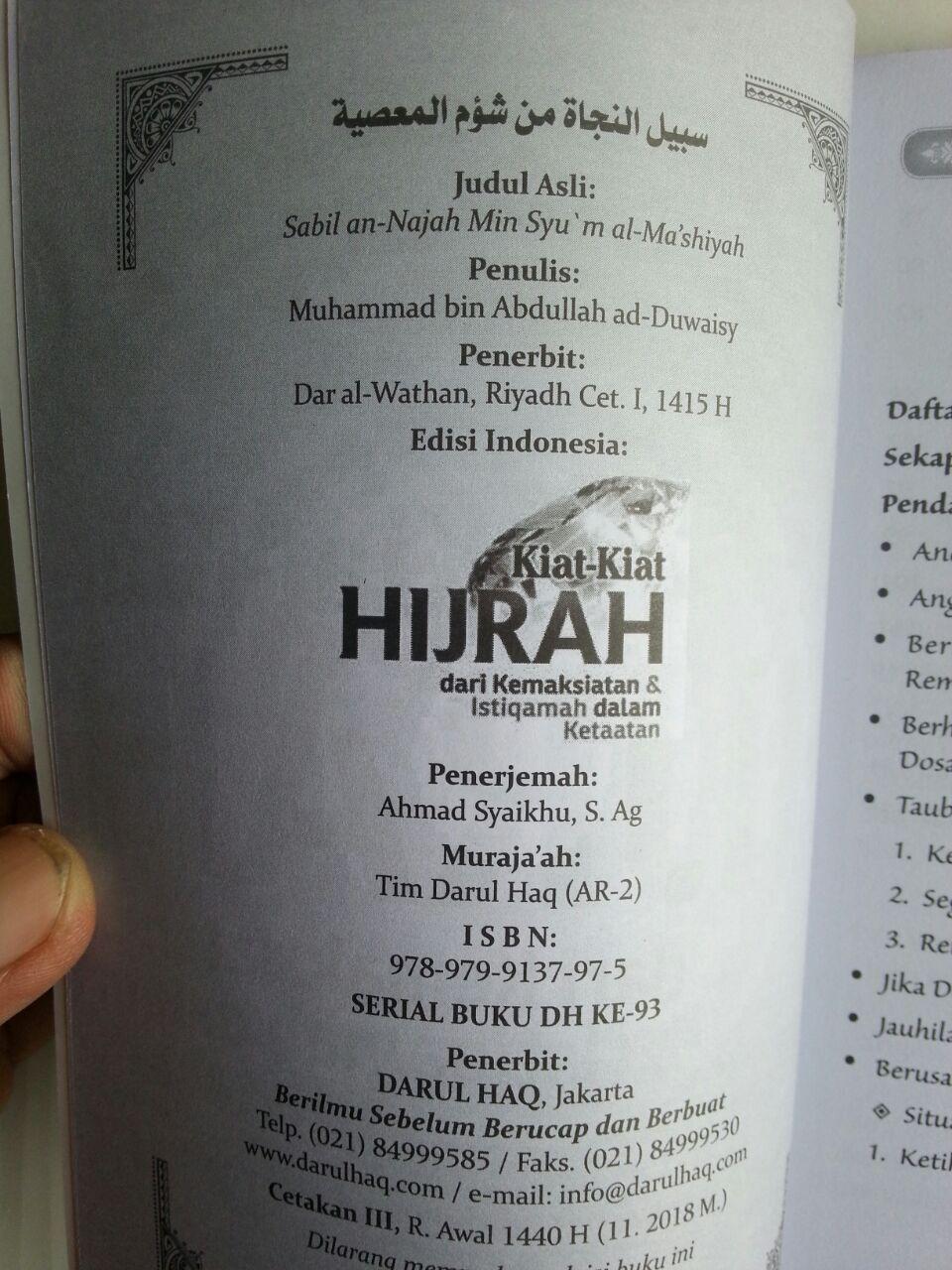 Buku Kiat-Kiat Hijrah Dari Kemaksiatan Kemudian Istiqomah Dalam Ketaatan isi