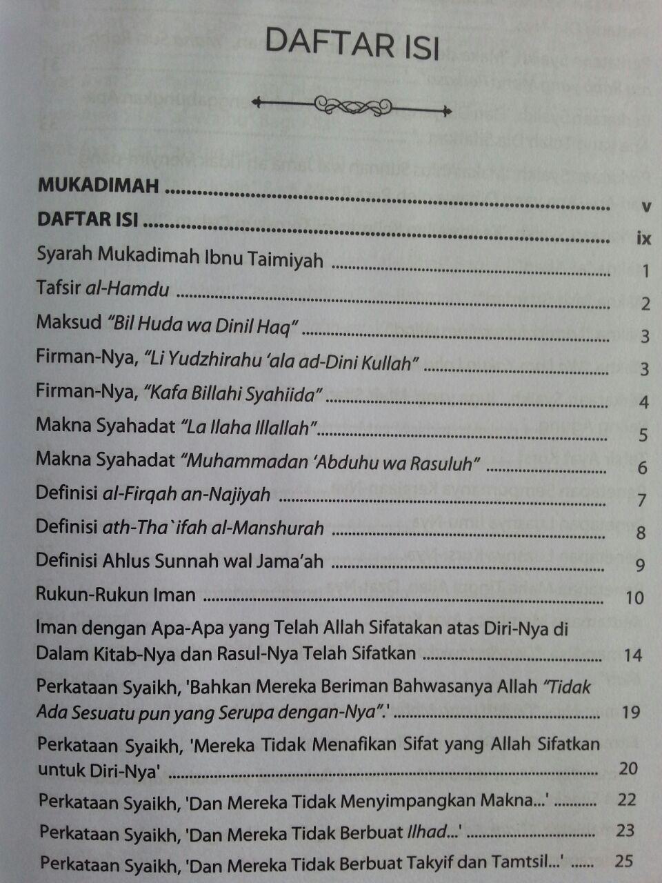 Buku Syarh Al-Aqidah Al-Wasithiyyah Dari Perkataan Ibnu Taimiyyah isi
