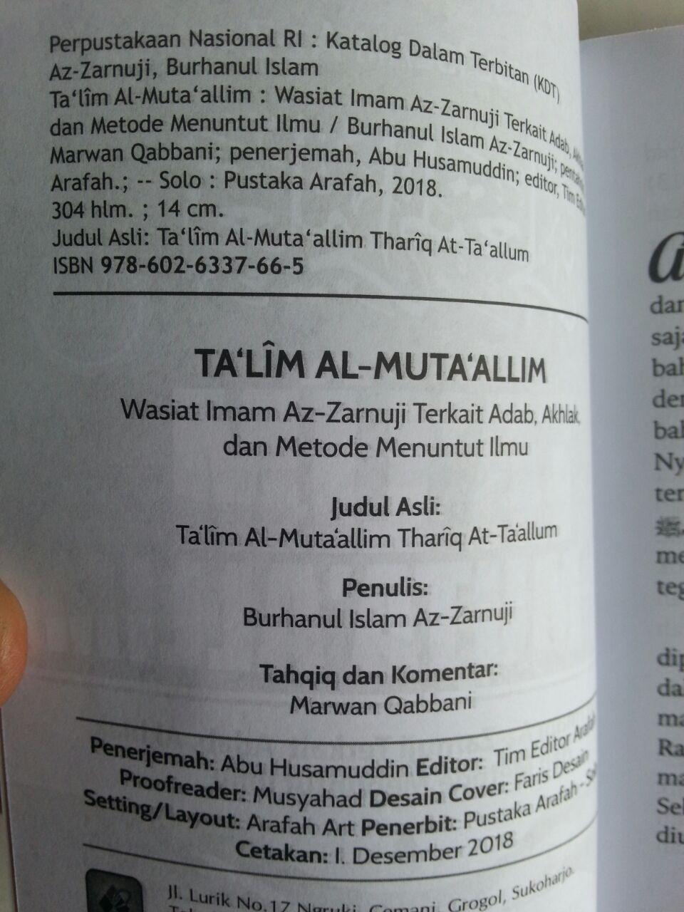 Buku Ta'lim Al-Muta'allim Wasiat Terkait Adab Akhlak Menuntut Ilmu isi 2