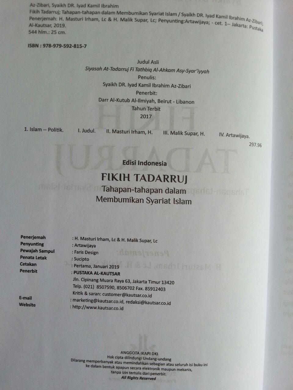 Buku Fikih Tadarruj Tahapan-Tahapan Dalam Membumikan Syariat Islam isi