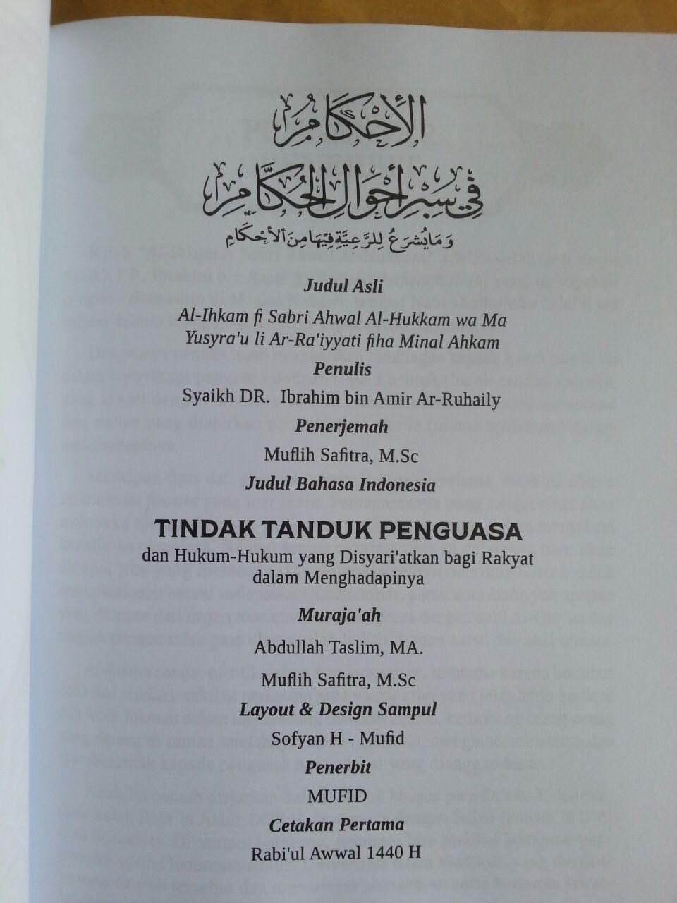Buku Tindak Tanduk Penguasa Dan Hukum Syariat Rakyat Menghadapinya isi