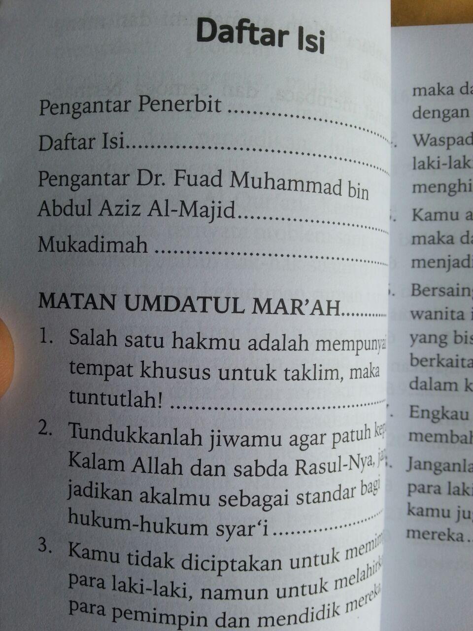 Buku Umdatul Mar'ah 100 Hadits Landasan Hukum Bagi Wanita isi 2