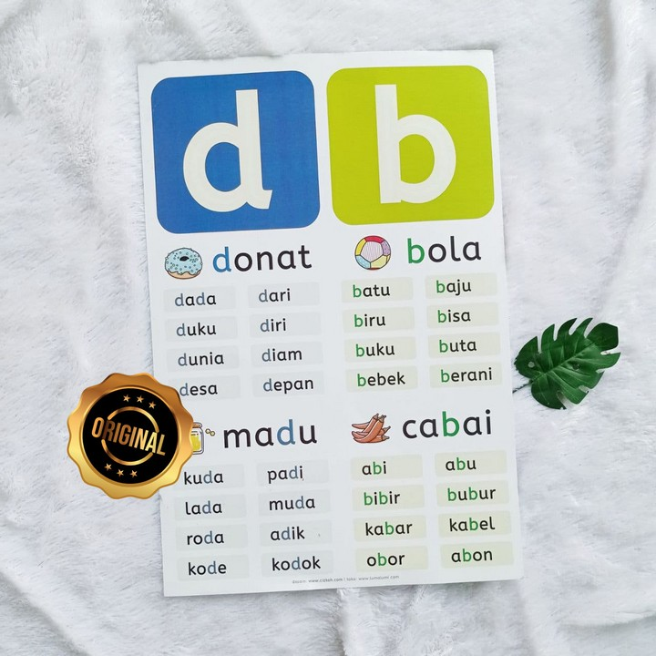 Poster Anak Huruf Latin D Dan B