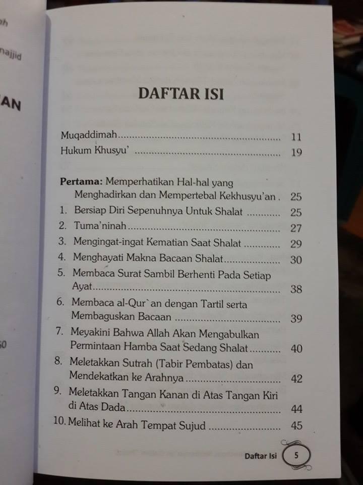 Buku 33 Kiat Mencapai Kekhusyuan Dalam Shalat Daftar Isi