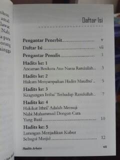 Buku Hadits Arbain 40 Hadits Pilihan Tentang Prinsip Dan Manhaj Dalam Beragama Daftar Isi