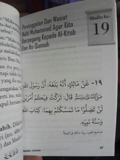 Buku Hadits Arbain 40 Hadits Pilihan Tentang Prinsip Dan Manhaj Dalam Beragama Isi