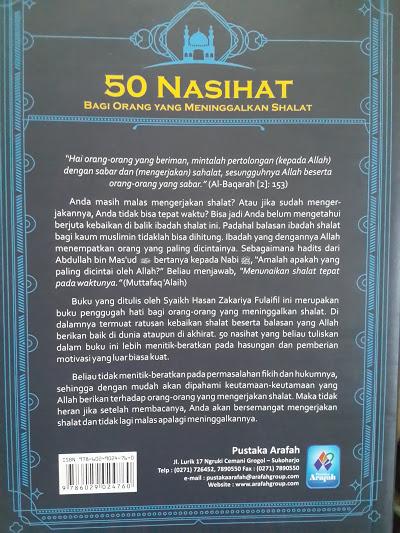 Buku 50 Nasihat Bagi Orang Yang Meninggalkan Shalat Cover Belakang