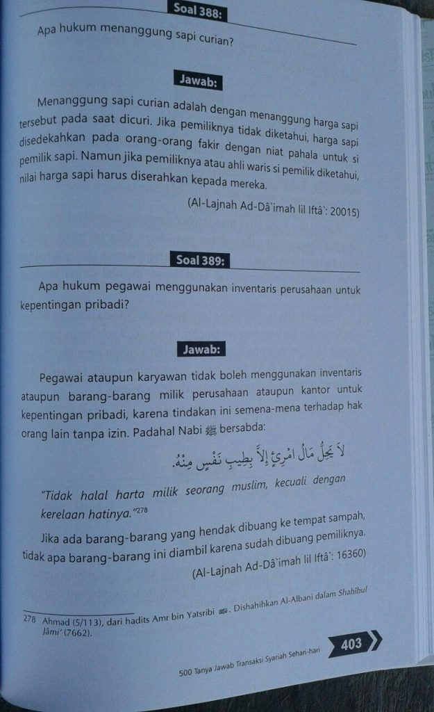 Buku 500 Tanya Jawab Transaksi Syariah Sehari Hari isi 3