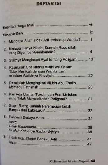 Buku 55 Alasan Istri Menolak Poligami Daftar Isi