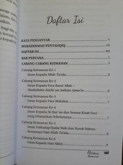 Buku 77 Cabang Keimanan Daftar Isi