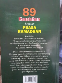 Buku 89 Kesalahan Seputar Puasa Ramadhan Cover Belakang