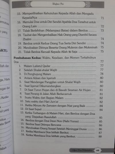 Buku Agar Doa Dikabulkan Sebab Terkabul Tertolaknya Doa Daftar Isi