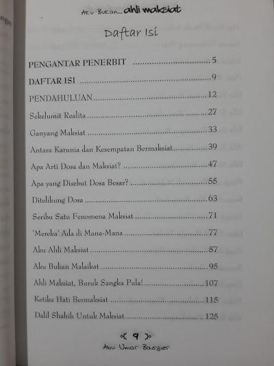 Buku Aku Bukan Ahli Maksiat Daftar Isi