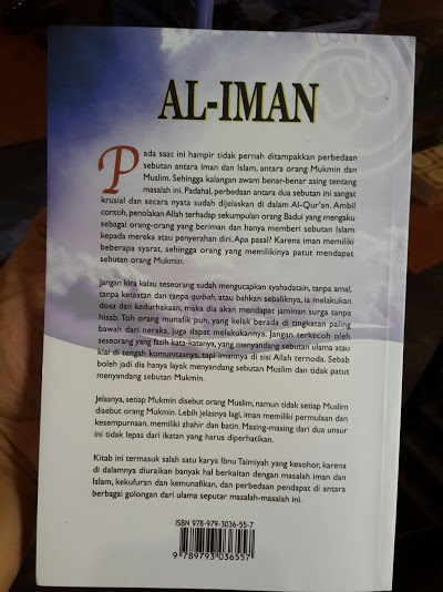 Buku Al-Iman Ibnu Taimiyah Cover Belakang
