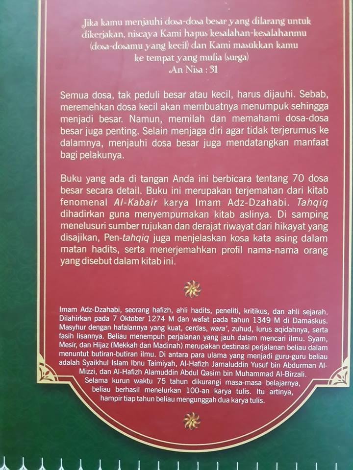 Buku Al-Kabair Dosa Dosa Besar Cover 2