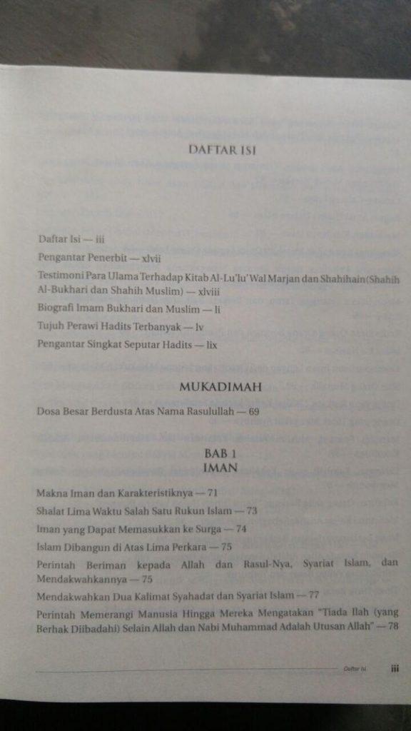 Buku Al-Lu'Lu' Wal Marjan Mutiara Hadis Sahih Bukhari Muslim isi
