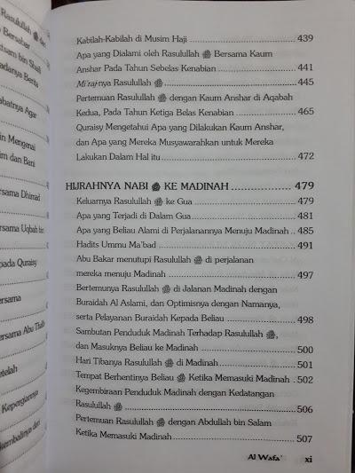 Buku Al-Wafa Sejarah Nabi Berdasarkan Riwayat Daftar Isi
