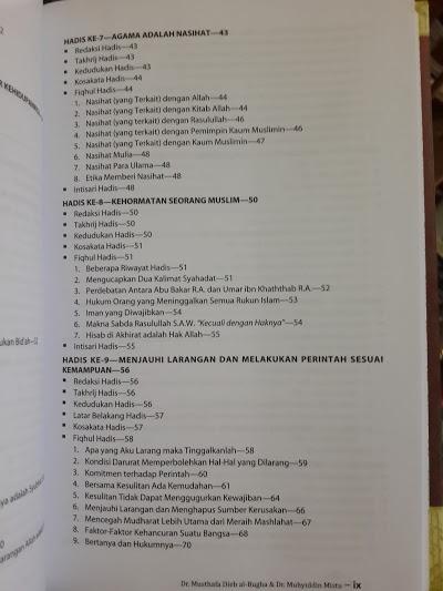 Buku Al-Wafi Syarah Hadis Arbain Imam An-Nawawi Daftar Isi
