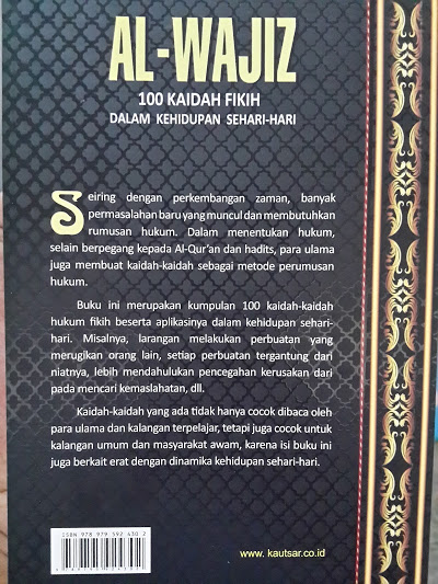 Buku Al-Wajiz 100 Kaidah Fikih Dalam Kehidupan Sehari-Hari Cover Belakang