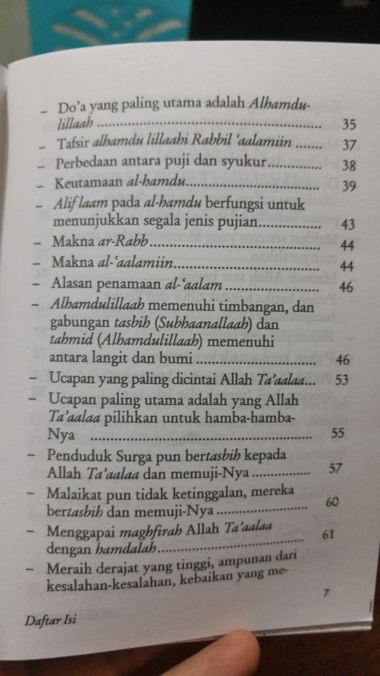 Buku Saku Alhamdulillah Dan Keutamaan Mengucapkannya isi