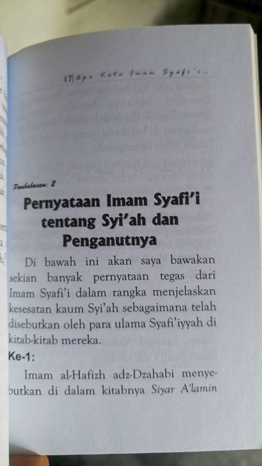 apa kata imam Syafi'i dan ulama syafi'iyyah tentang agama syi'ah buku isi