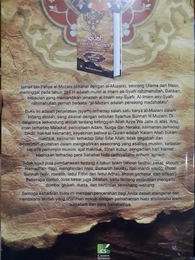 Buku Aqidah Imam Al-Muzani Murid Imam Asy-Syafi'i Cover 2