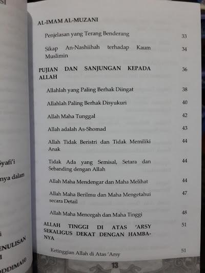 Buku Aqidah Imam Al-Muzani Murid Imam Asy-Syafi'i Daftar Isi