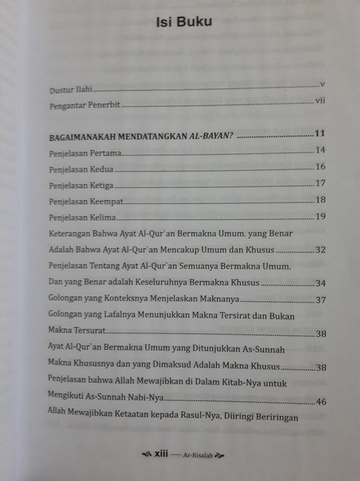 Buku Ar-Risalah Panduan Lengkap Fikih Dan Ushul Fikih Daftar Isi
