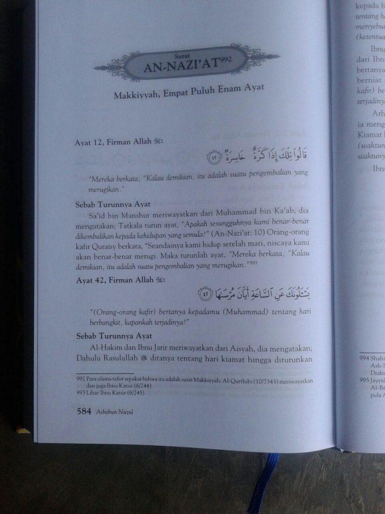 Buku Asbabun Nuzul Sebab-Sebab Turunnya Ayat Al-Qur'an isi