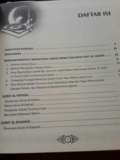 Buku Asbabun Nuzul Penjelasan Lengkap Sebab Turunnya Ayat Al-Quran Cover Daftar Isi