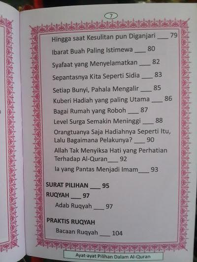 Buku Saku Ayat-Ayat Pilihan Dalam Al-Qur'an Daftar Isi