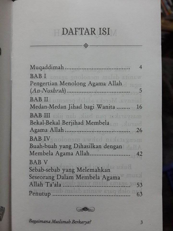 Buku Saku Bagaimana Muslimah Berkarya Daftar Isi