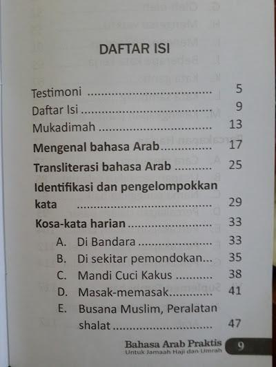 Buku Bahasa Arab Praktis Untuk Jamaah Haji Dan Umrah Daftar Isi