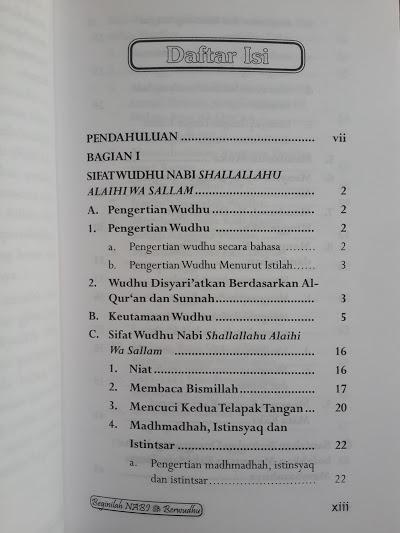 Buku Beginilah Nabi Muhammad Berwudhu Daftar Isi