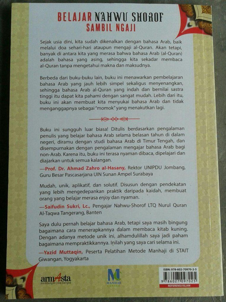 Buku Belajar Nahwu Shorof Sambil Ngaji Metode Manhaji cover 2