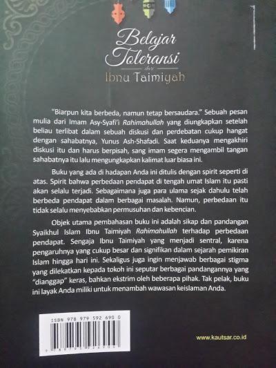 Buku Belajar Toleransi Dari Ibnu Taimiyah Cover Belakang