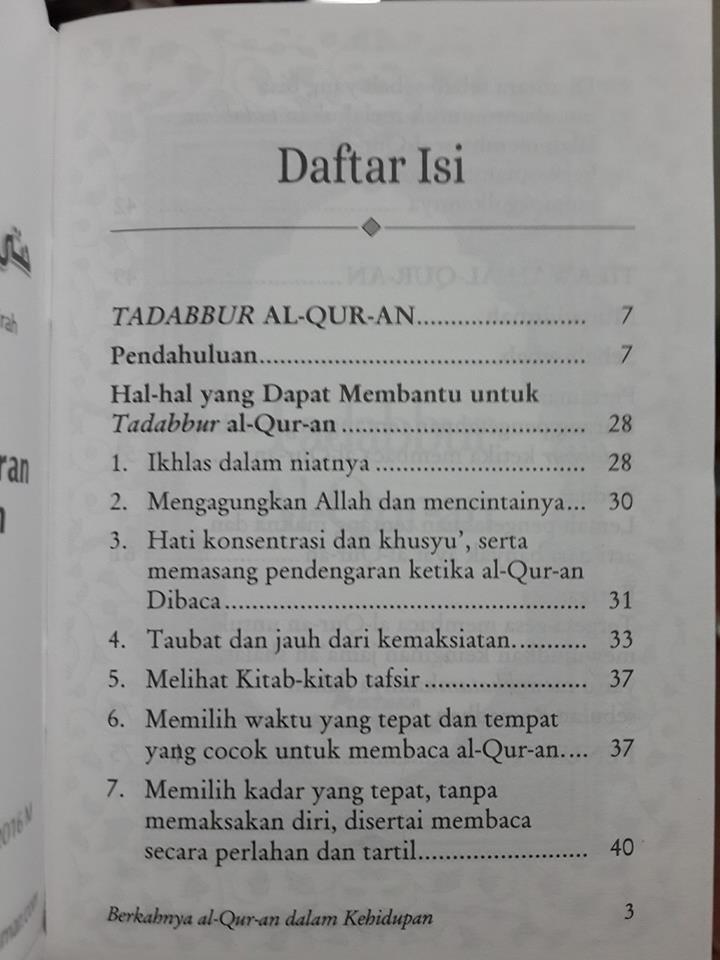 Buku Saku Berkahnya Al-Qur'an Dalam Kehidupan Daftar Isi