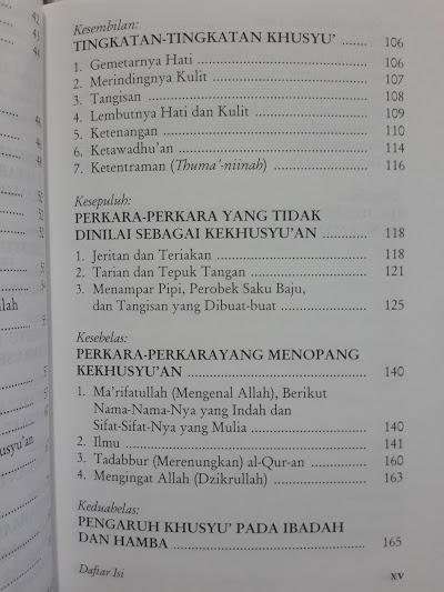 Buku Beruntunglah Orang Yang Khusyuk Daftar Isi