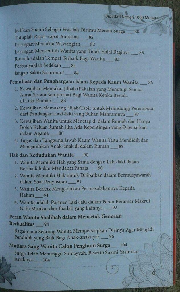 Buku Bidadari Negeri 1000 Menara isi
