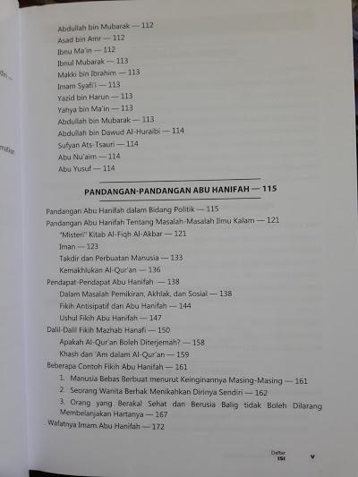 Buku Biografi Empat Imam Mazhab Daftar Isi