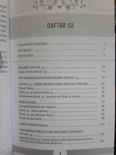 Buku Biografi Ummul Mukminin Aisyah Daftar Isi