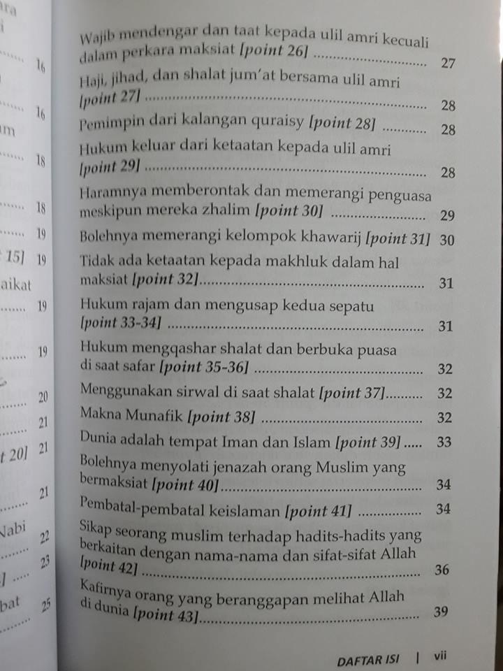 Buku Syarhus Sunnah Panduan Meniti Jalan Kebenaran Daftar Isi