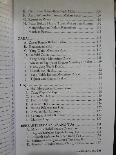 Buku Cara Mudah Belajar Islam Bimbingan Dasar Islam Daftar Isi