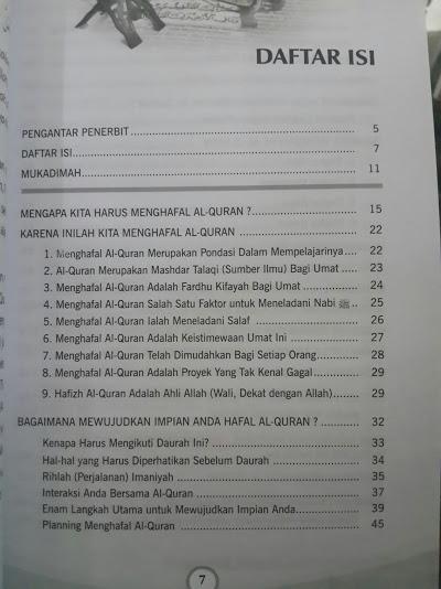 Buku Cara Mudah Dan Cepat Hafal Al-Quran Daftar Isi