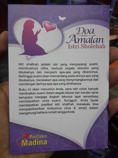 Buku Saku Doa Dan Amalan Istri Sholihah Cover Belakang