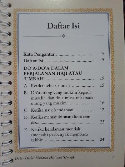 Buku Doa Dan Dzikir Manasik Haji dan Umrah Daftar Isi