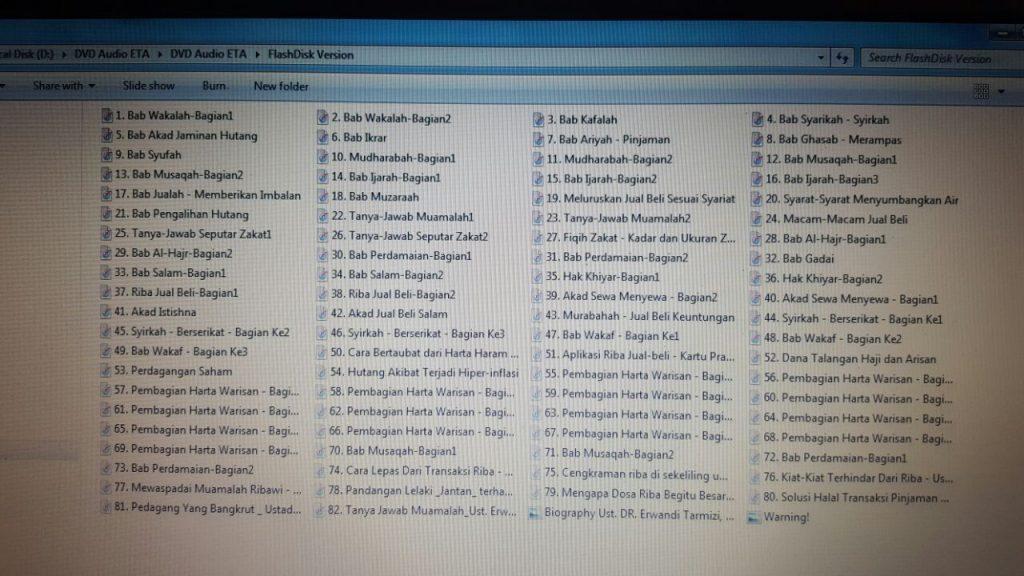 DVD MP3 Kompilasi Kajian Muamalah DR. Erwandi Tarmizi, MA Isi